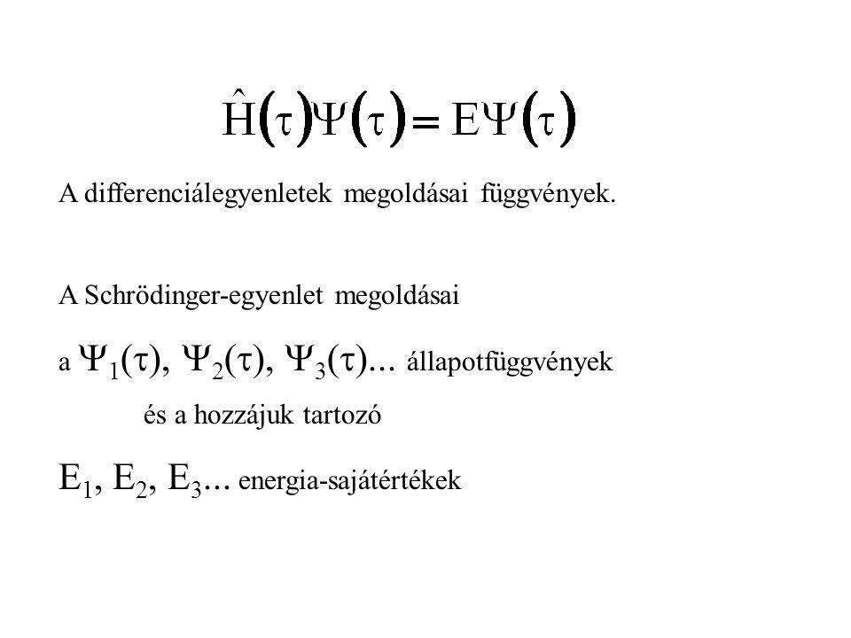 E1, E2, E3... energia-sajátértékek