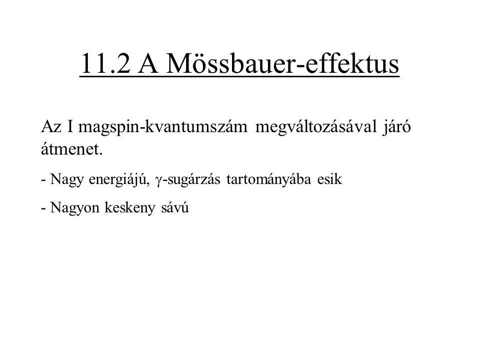 11.2 A Mössbauer-effektus Az I magspin-kvantumszám megváltozásával járó átmenet. - Nagy energiájú, g-sugárzás tartományába esik.