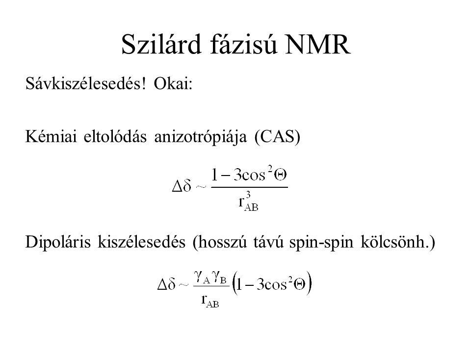 Szilárd fázisú NMR Sávkiszélesedés! Okai: