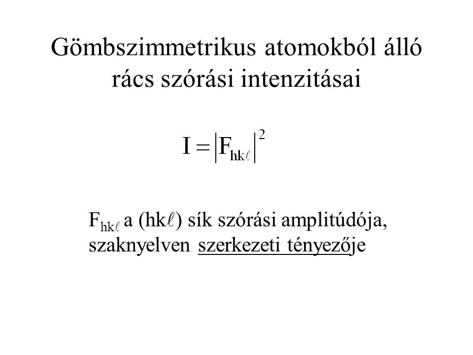Gömbszimmetrikus atomokból álló rács szórási intenzitásai