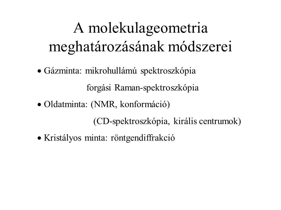 A molekulageometria meghatározásának módszerei