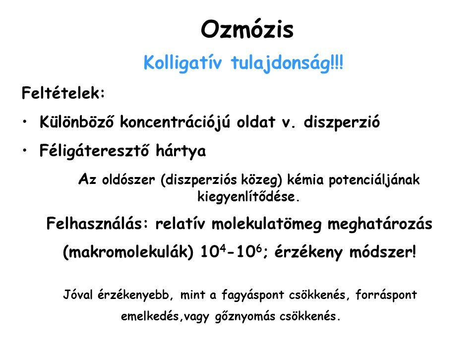 Ozmózis Kolligatív tulajdonság!!! Feltételek: