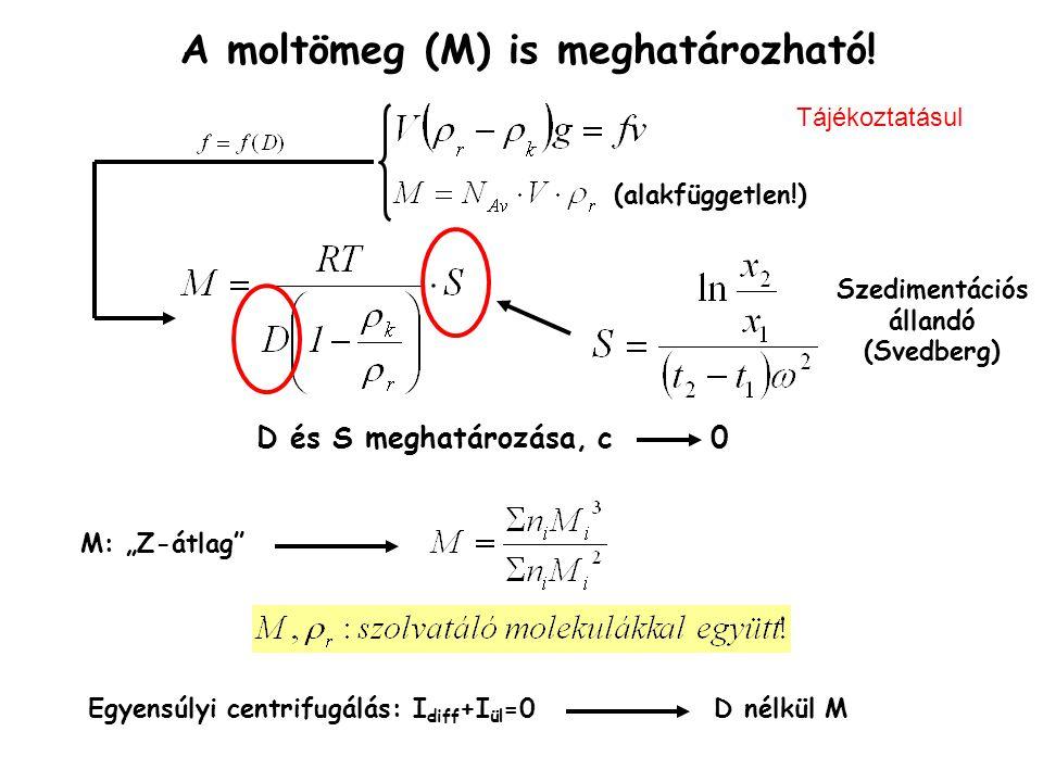 A moltömeg (M) is meghatározható! Szedimentációs állandó