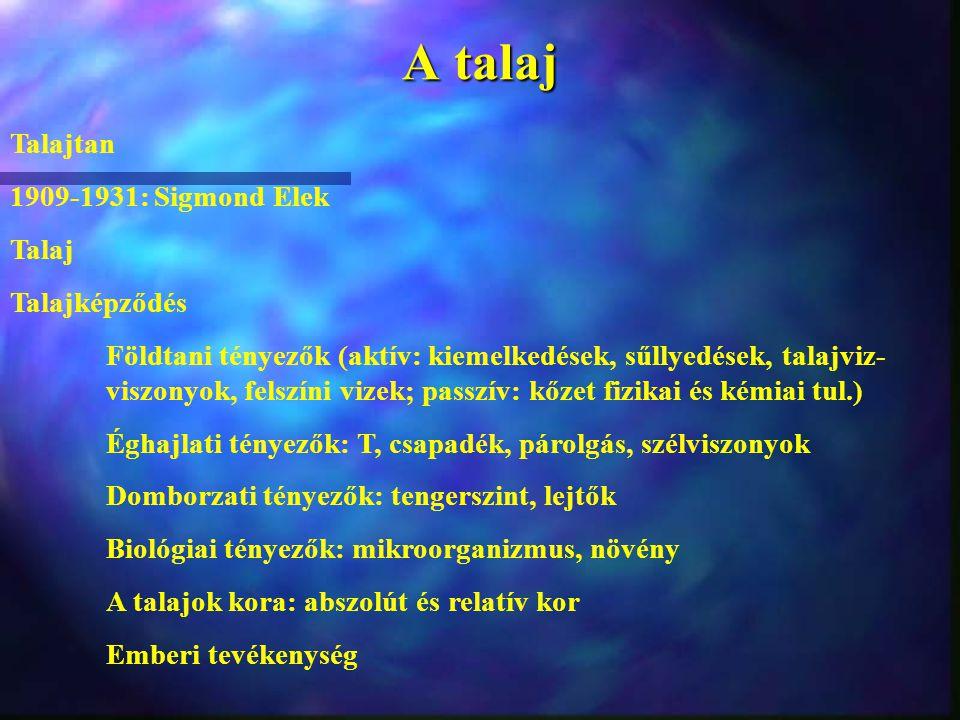 A talaj Talajtan 1909-1931: Sigmond Elek Talaj Talajképződés