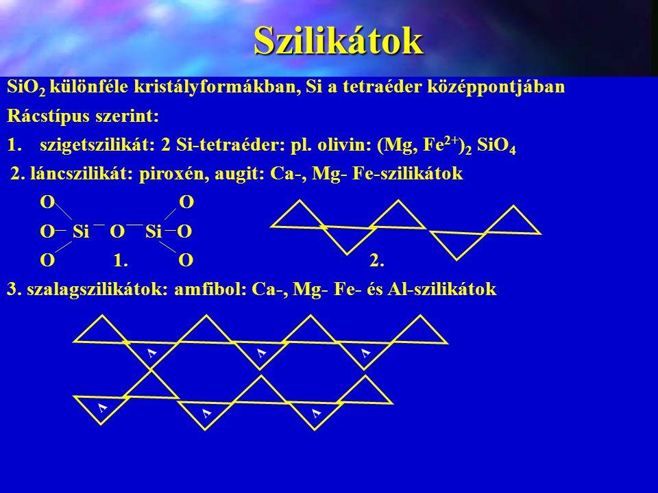Szilikátok SiO2 különféle kristályformákban, Si a tetraéder középpontjában. Rácstípus szerint: