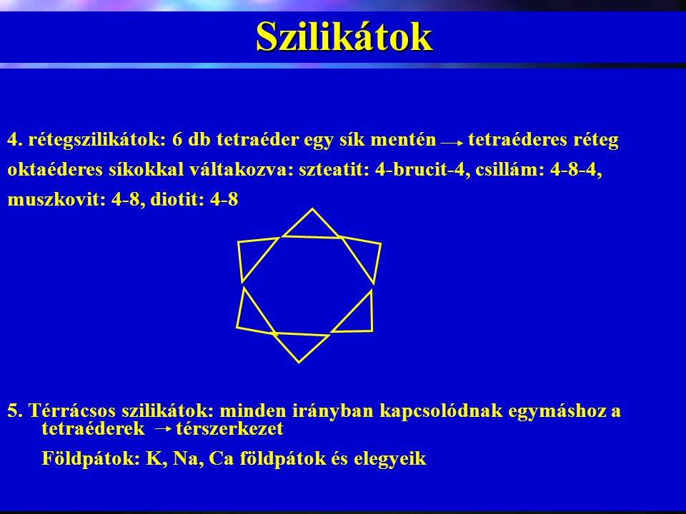 Szilikátok 4. rétegszilikátok: 6 db tetraéder egy sík mentén tetraéderes réteg.