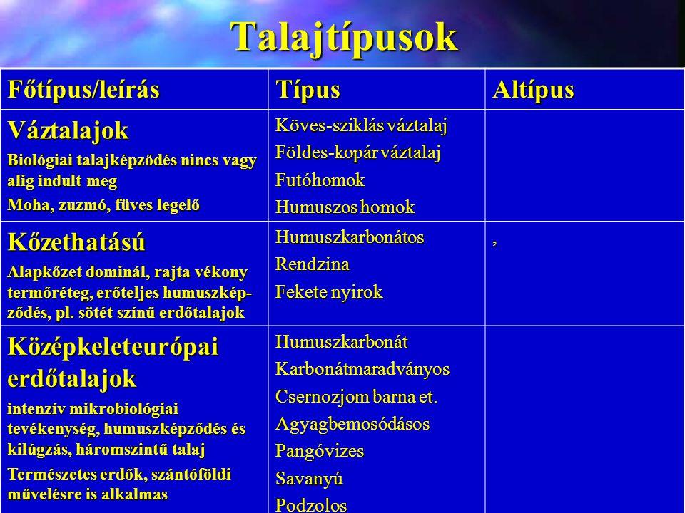 Talajtípusok Főtípus/leírás Típus Altípus Váztalajok Kőzethatású
