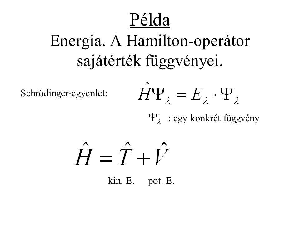 Példa Energia. A Hamilton-operátor sajátérték függvényei.