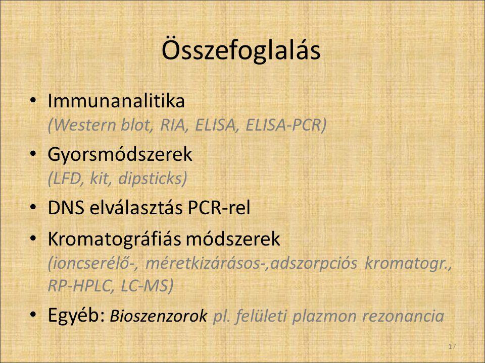 Összefoglalás Immunanalitika (Western blot, RIA, ELISA, ELISA-PCR)