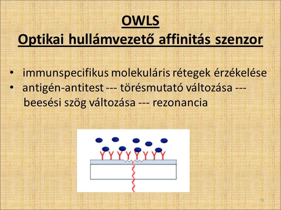 OWLS Optikai hullámvezető affinitás szenzor