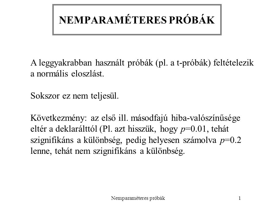 NEMPARAMÉTERES PRÓBÁK