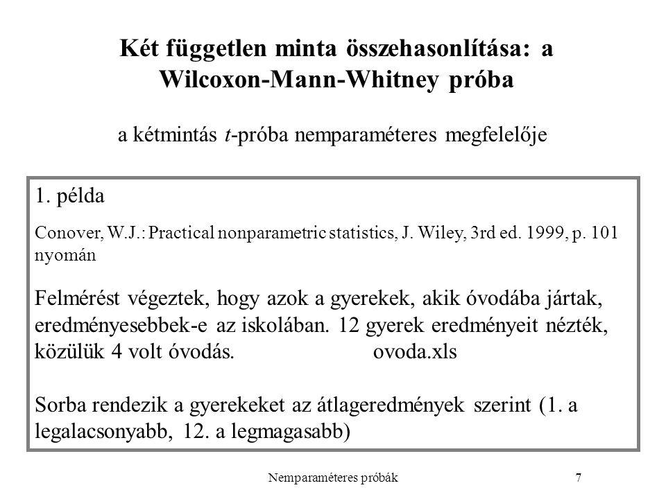 Két független minta összehasonlítása: a Wilcoxon-Mann-Whitney próba