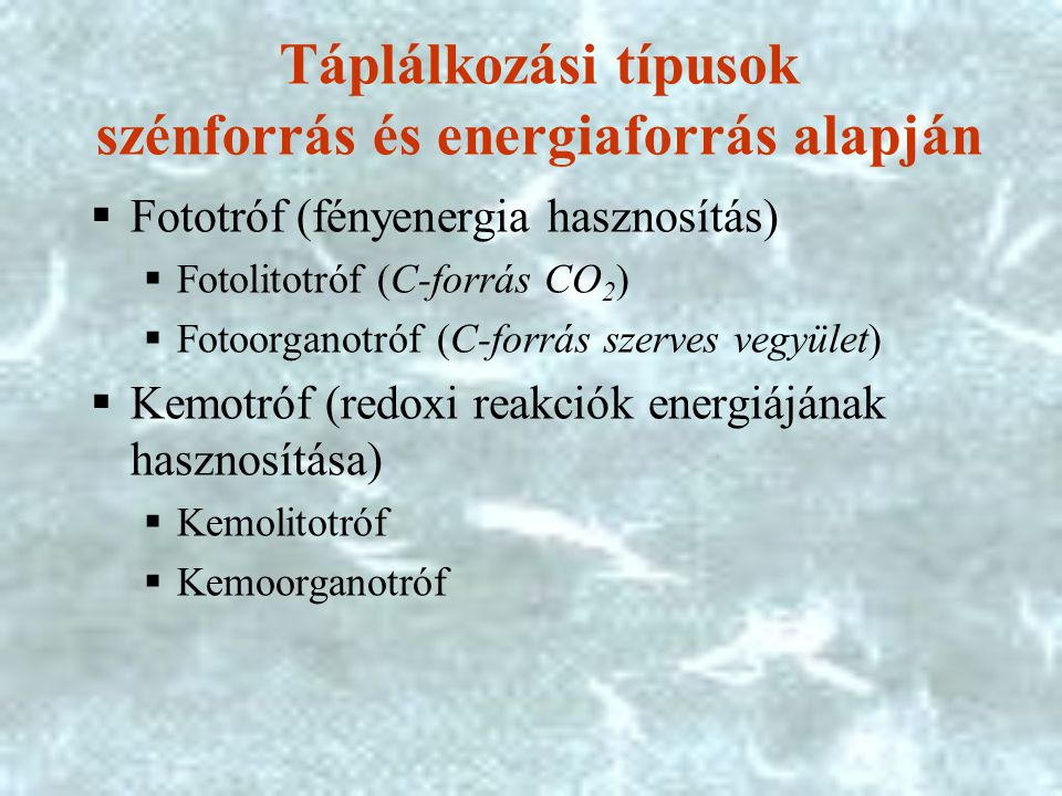 Táplálkozási típusok szénforrás és energiaforrás alapján