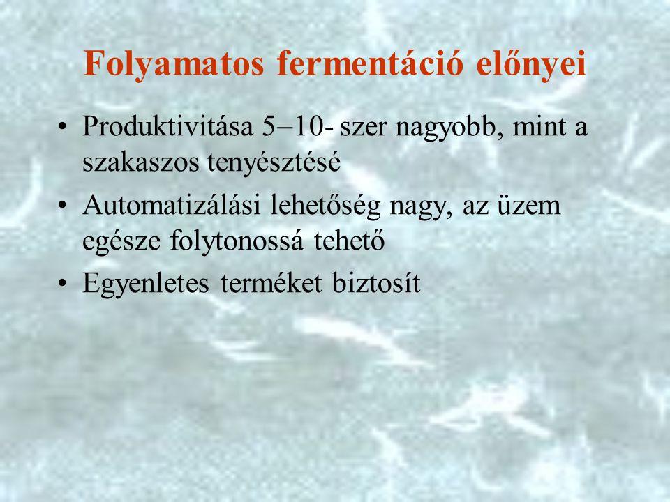 Folyamatos fermentáció előnyei
