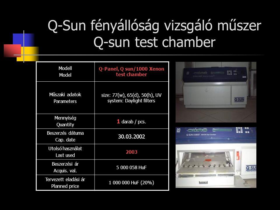 Q-Sun fényállóság vizsgáló műszer Q-sun test chamber