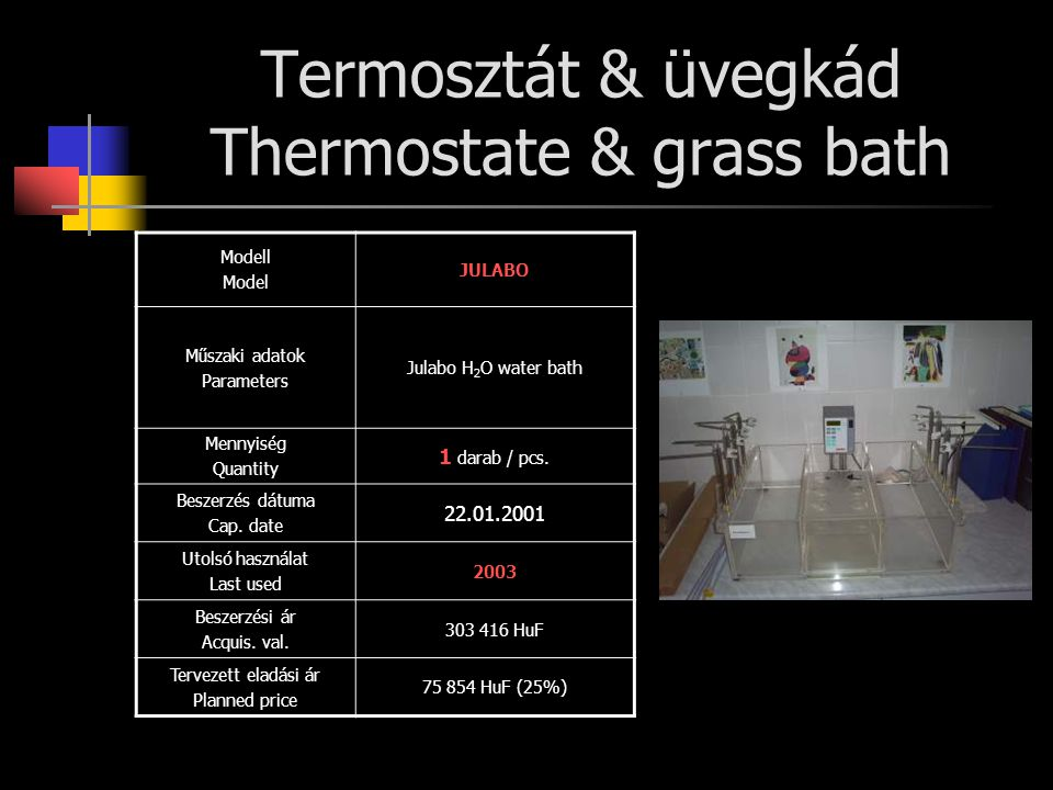 Termosztát & üvegkád Thermostate & grass bath