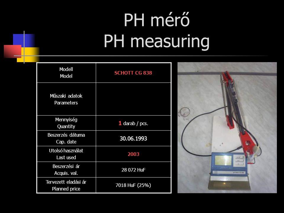 PH mérő PH measuring 1 darab / pcs. 30.06.1993 Modell SCHOTT CG 838