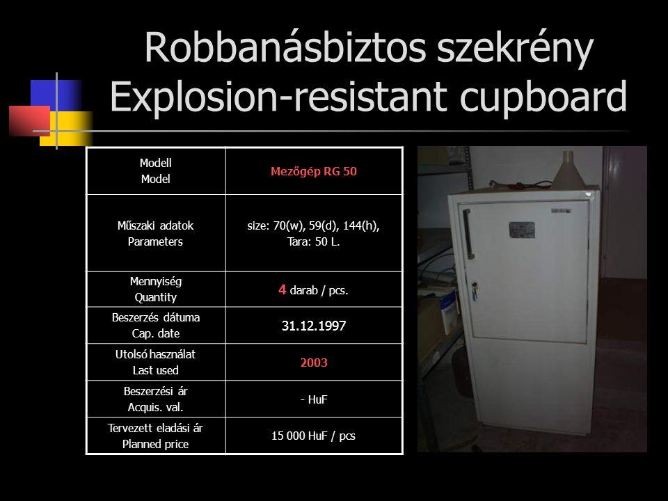 Robbanásbiztos szekrény Explosion-resistant cupboard