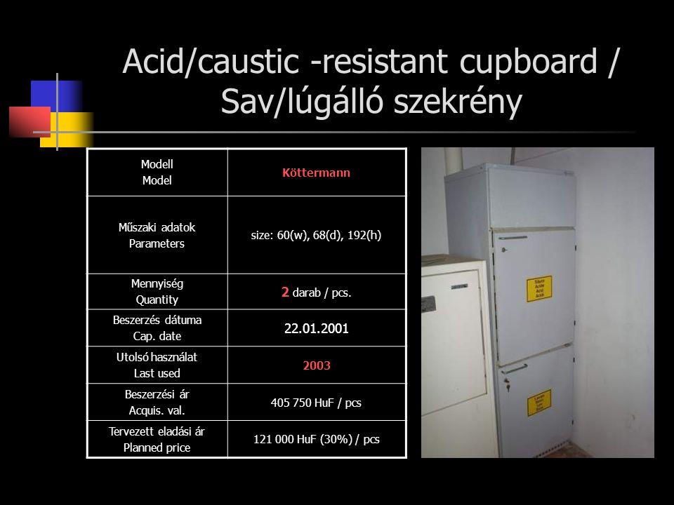 Acid/caustic -resistant cupboard / Sav/lúgálló szekrény