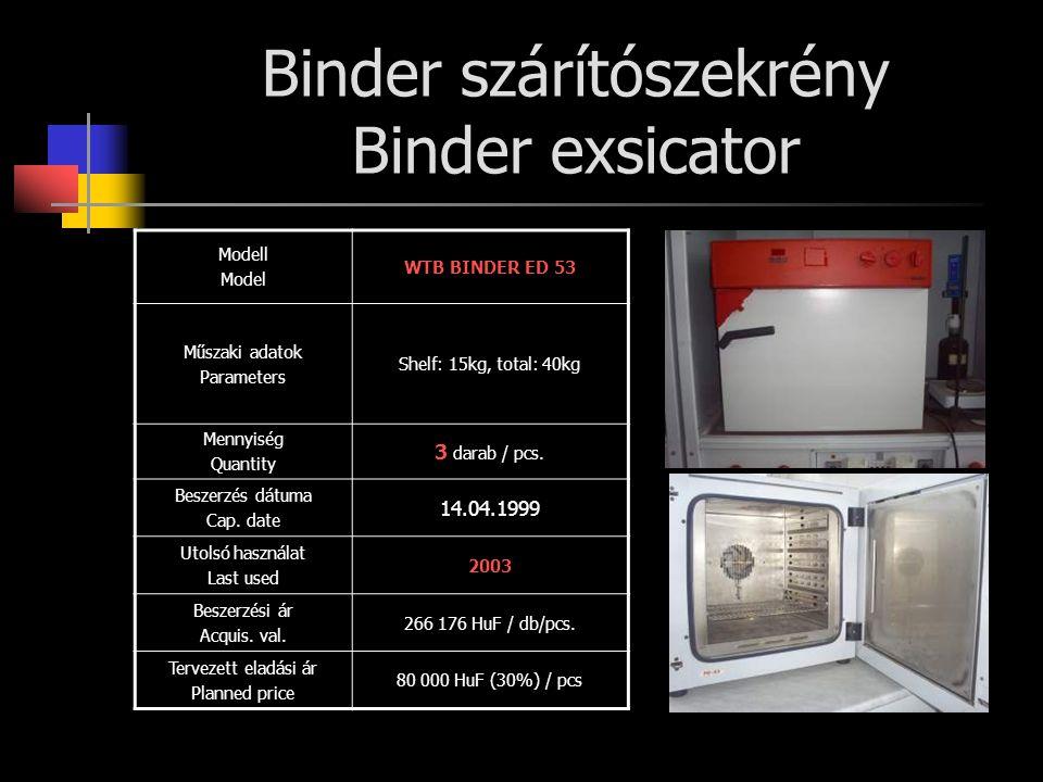Binder szárítószekrény Binder exsicator