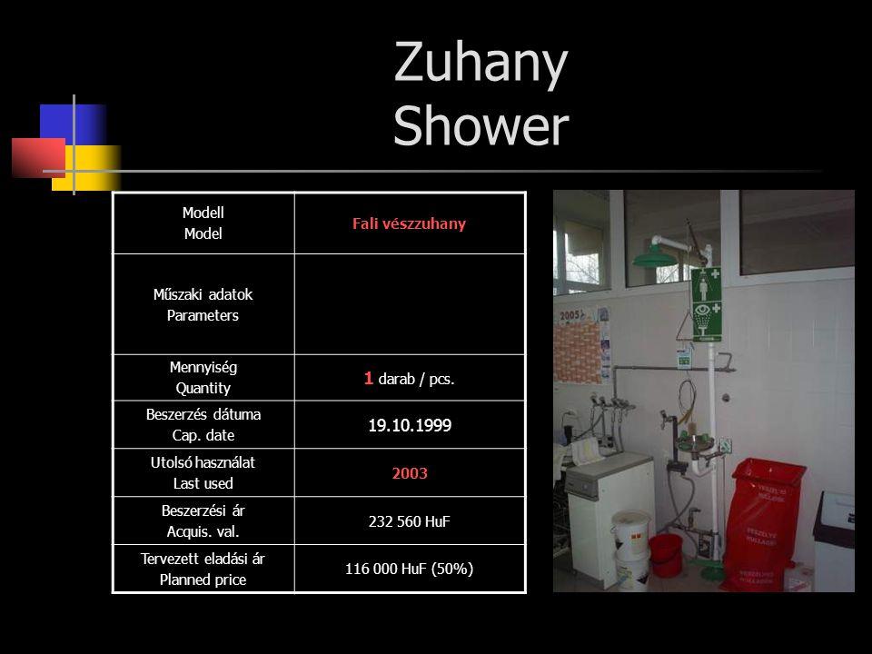 Zuhany Shower 1 darab / pcs. 19.10.1999 Modell Fali vészzuhany Model