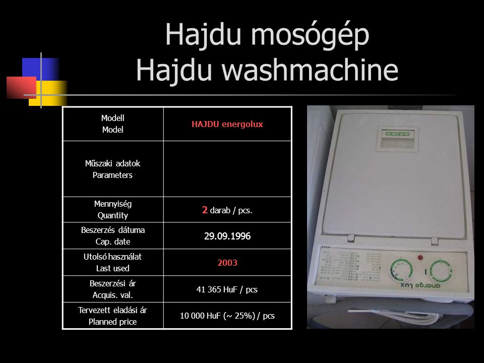 Hajdu mosógép Hajdu washmachine