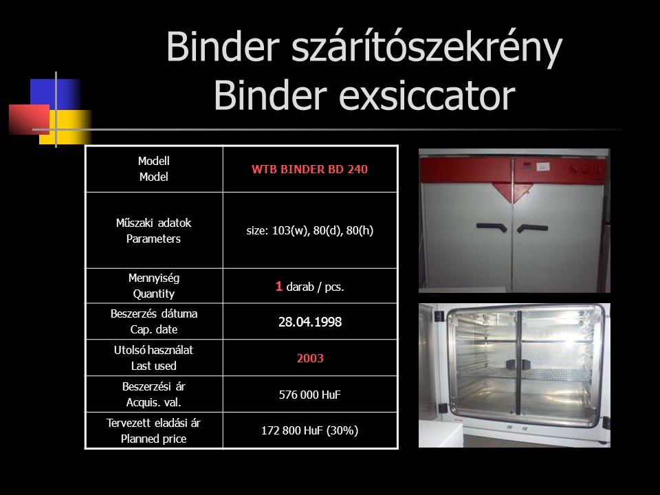 Binder szárítószekrény Binder exsiccator