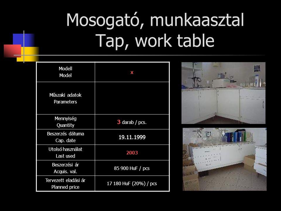 Mosogató, munkaasztal Tap, work table