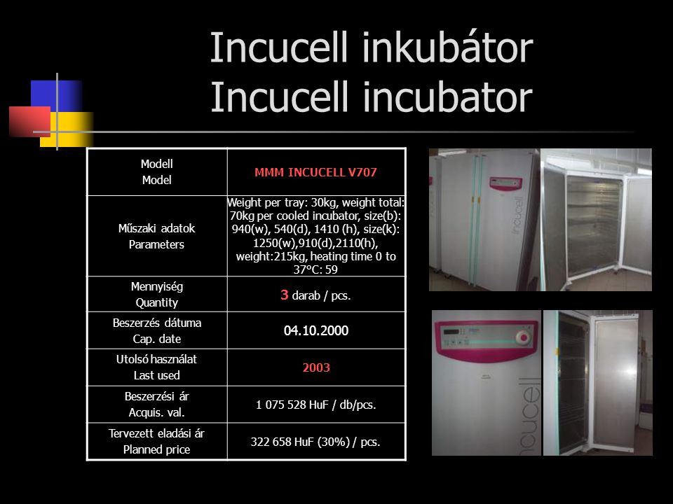 Incucell inkubátor Incucell incubator
