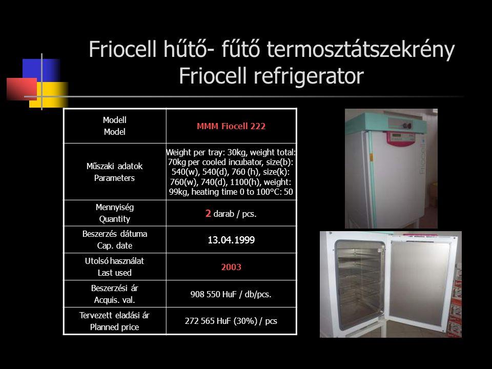 Friocell hűtő- fűtő termosztátszekrény Friocell refrigerator
