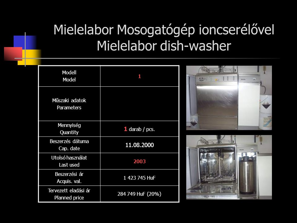 Mielelabor Mosogatógép ioncserélővel Mielelabor dish-washer