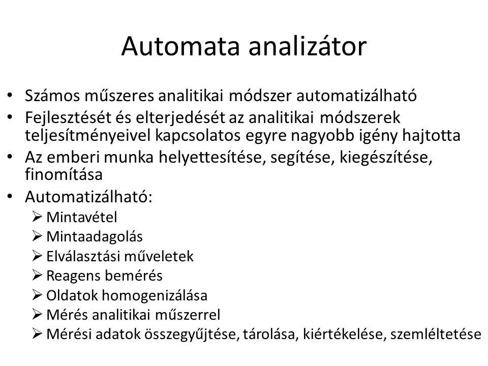 Automata analizátor Számos műszeres analitikai módszer automatizálható