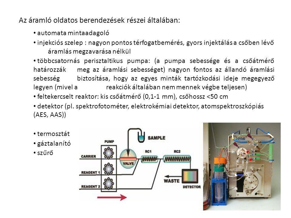 Az áramló oldatos berendezések részei általában: