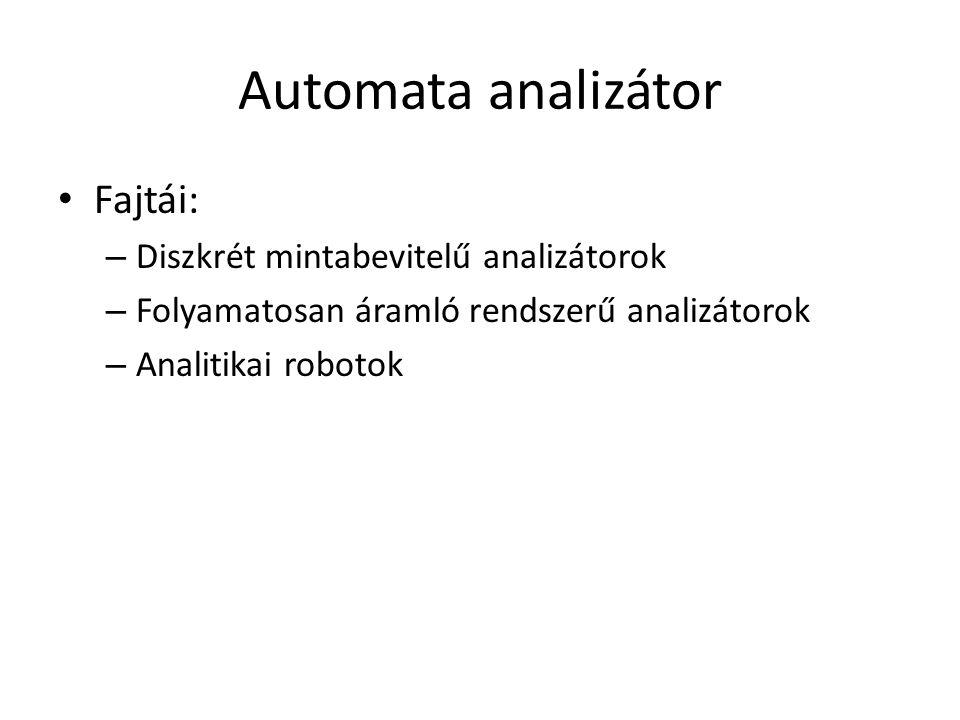 Automata analizátor Fajtái: Diszkrét mintabevitelű analizátorok