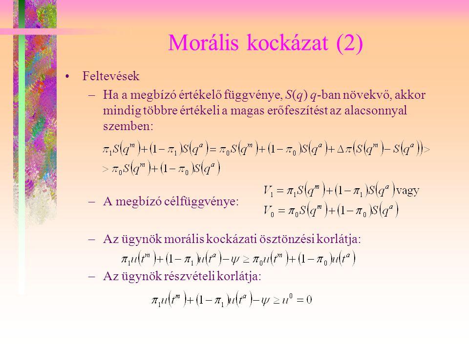 Morális kockázat (2) Feltevések