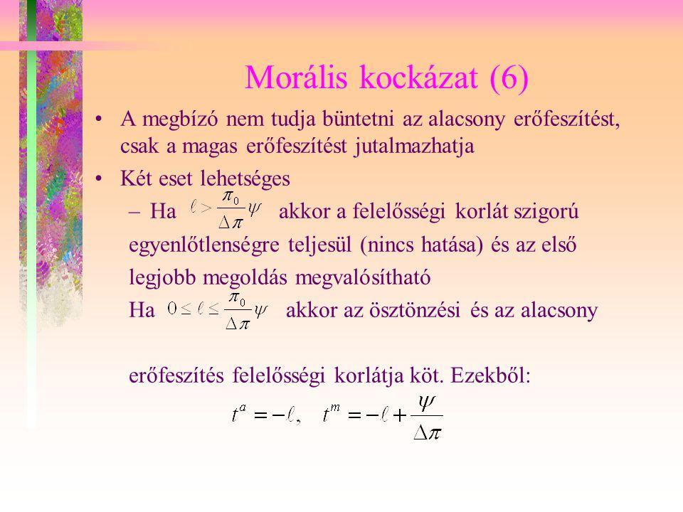 Morális kockázat (6) A megbízó nem tudja büntetni az alacsony erőfeszítést, csak a magas erőfeszítést jutalmazhatja.