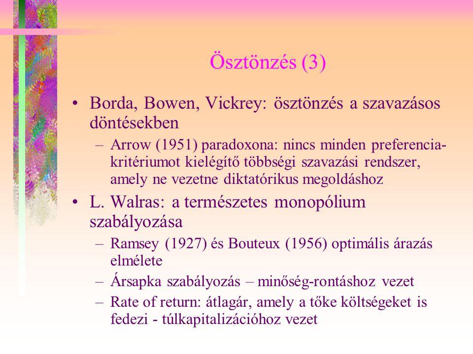 Ösztönzés (3) Borda, Bowen, Vickrey: ösztönzés a szavazásos döntésekben.