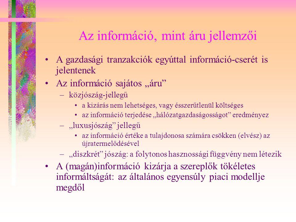 Az információ, mint áru jellemzői