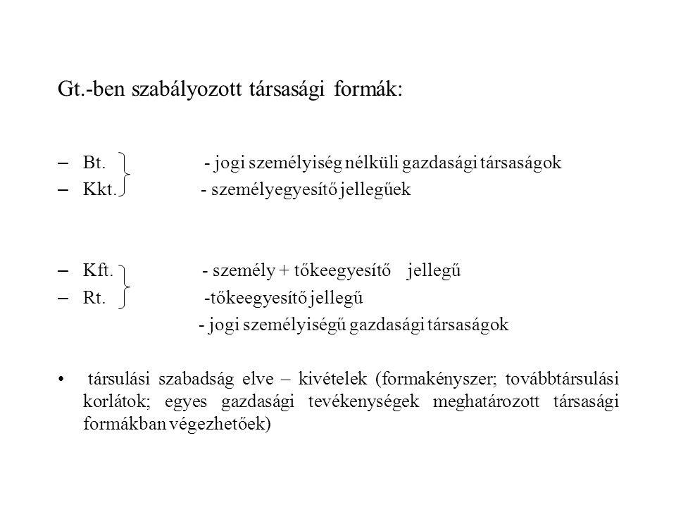Gt.-ben szabályozott társasági formák: