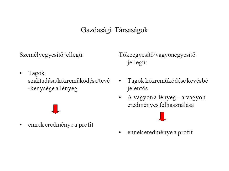 Gazdasági Társaságok Személyegyesítő jellegű: