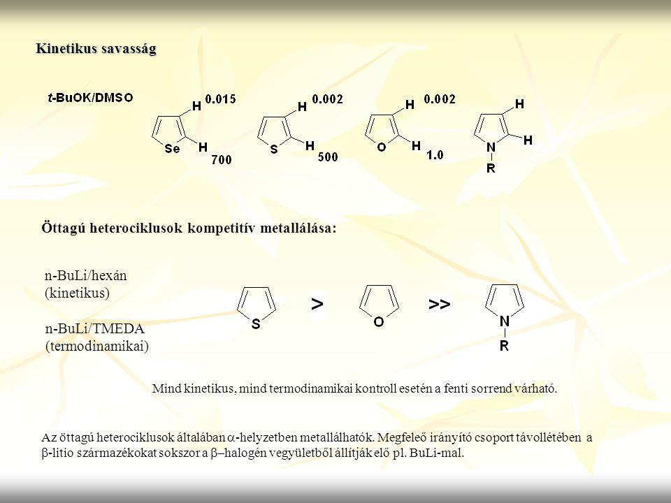 Öttagú heterociklusok kompetitív metallálása: