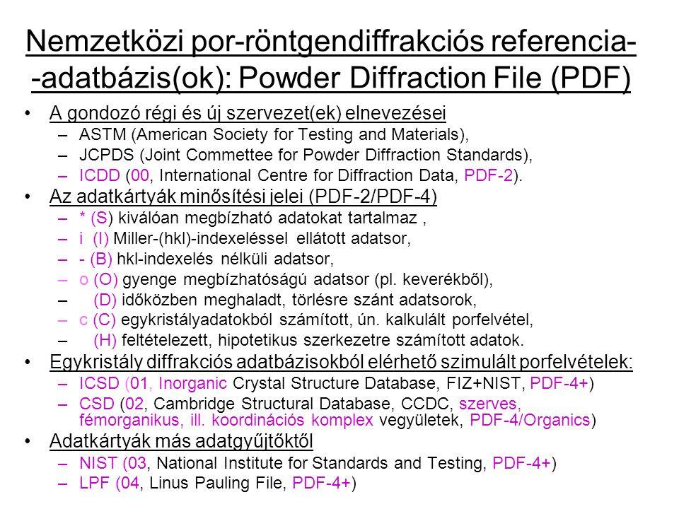 Nemzetközi por-röntgendiffrakciós referencia- -adatbázis(ok): Powder Diffraction File (PDF)
