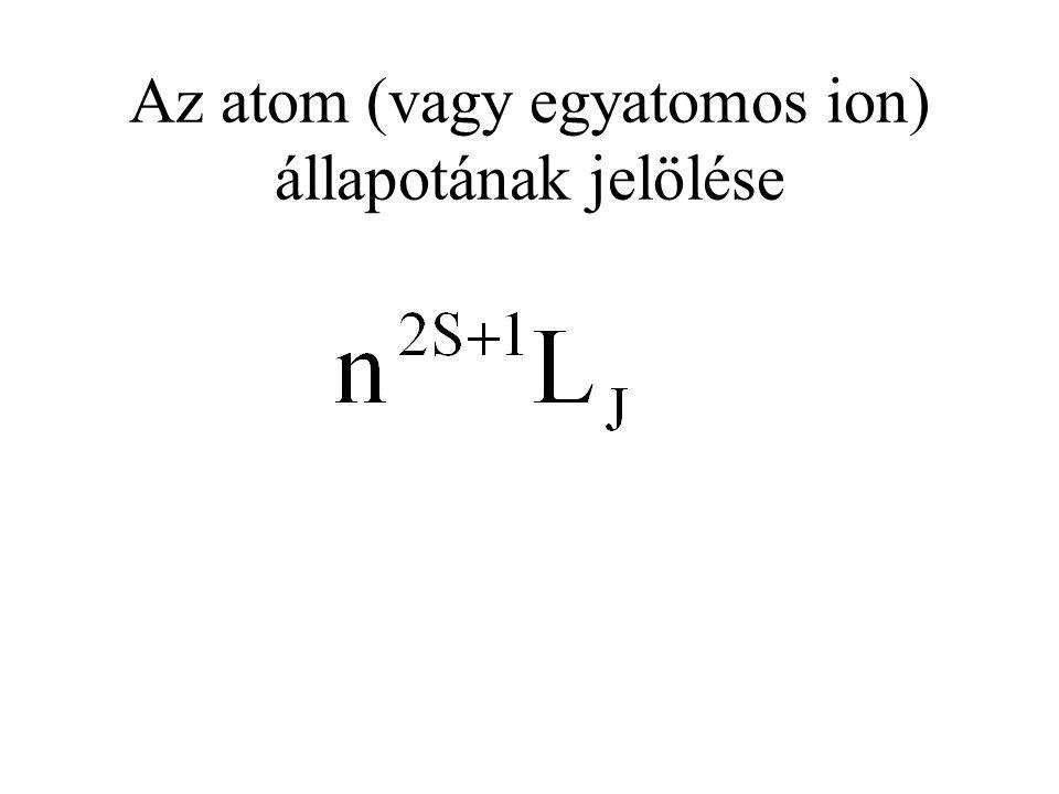 Az atom (vagy egyatomos ion) állapotának jelölése