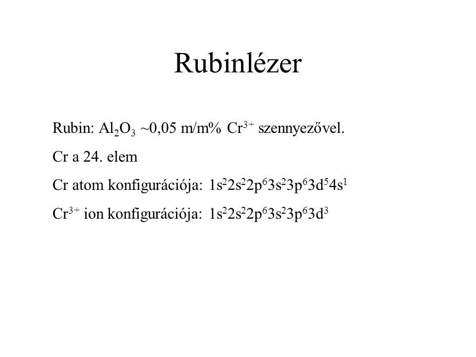 Rubinlézer Rubin: Al2O3 ~0,05 m/m% Cr3+ szennyezővel. Cr a 24. elem