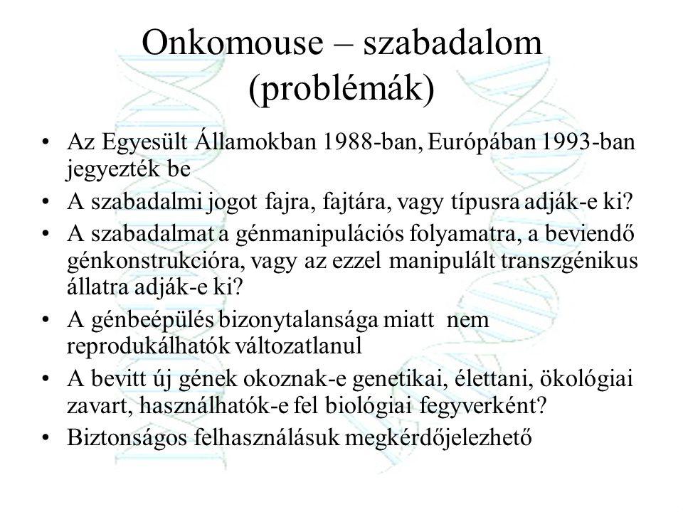 Onkomouse – szabadalom (problémák)