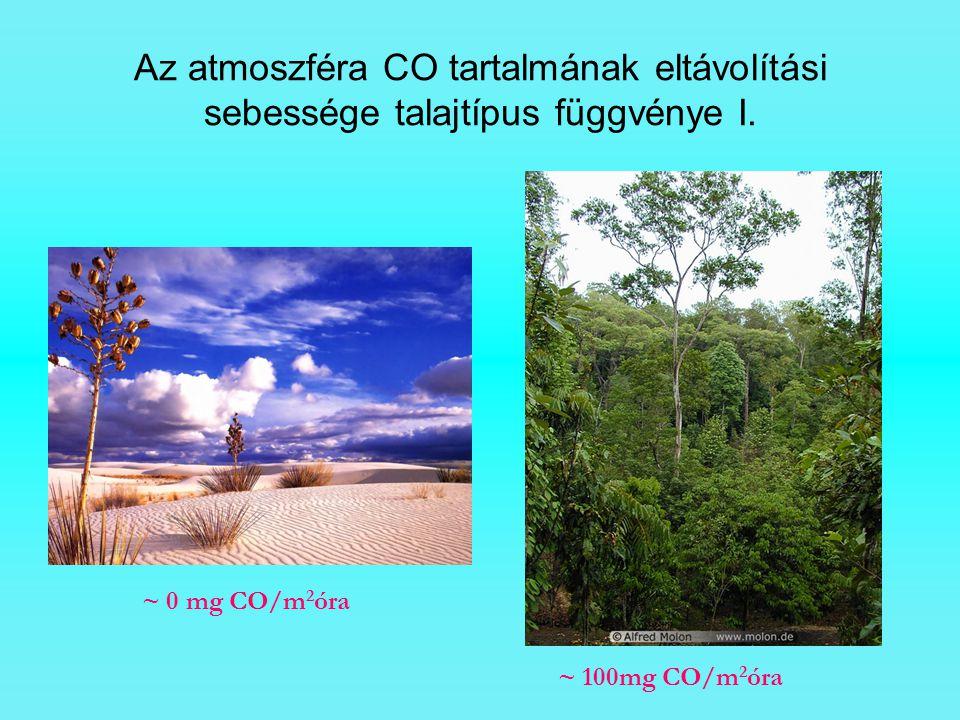 Az atmoszféra CO tartalmának eltávolítási sebessége talajtípus függvénye I.