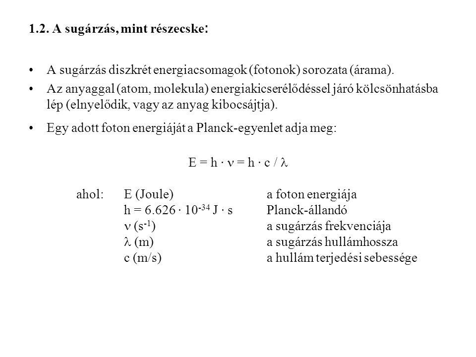 1.2. A sugárzás, mint részecske: