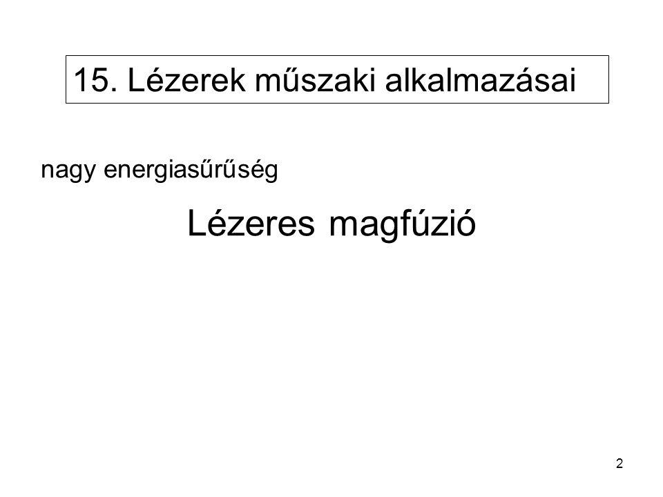 15. Lézerek műszaki alkalmazásai