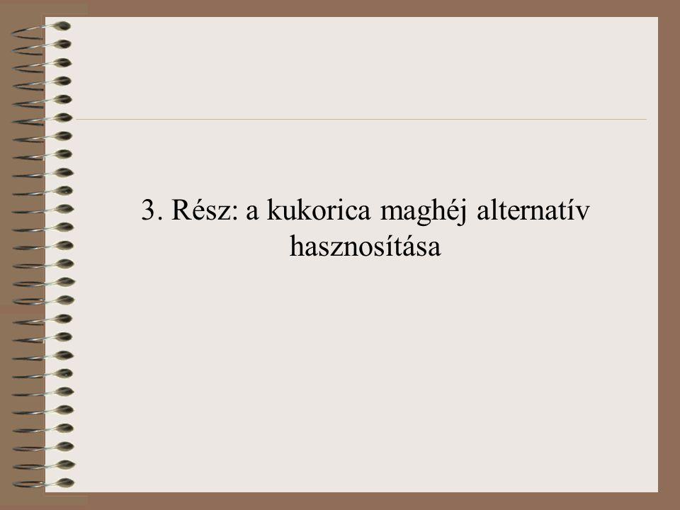 3. Rész: a kukorica maghéj alternatív hasznosítása