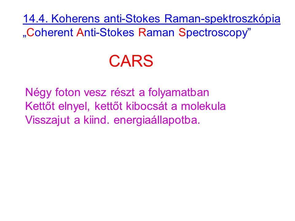 """14.4. Koherens anti-Stokes Raman-spektroszkópia """"Coherent Anti-Stokes Raman Spectroscopy"""